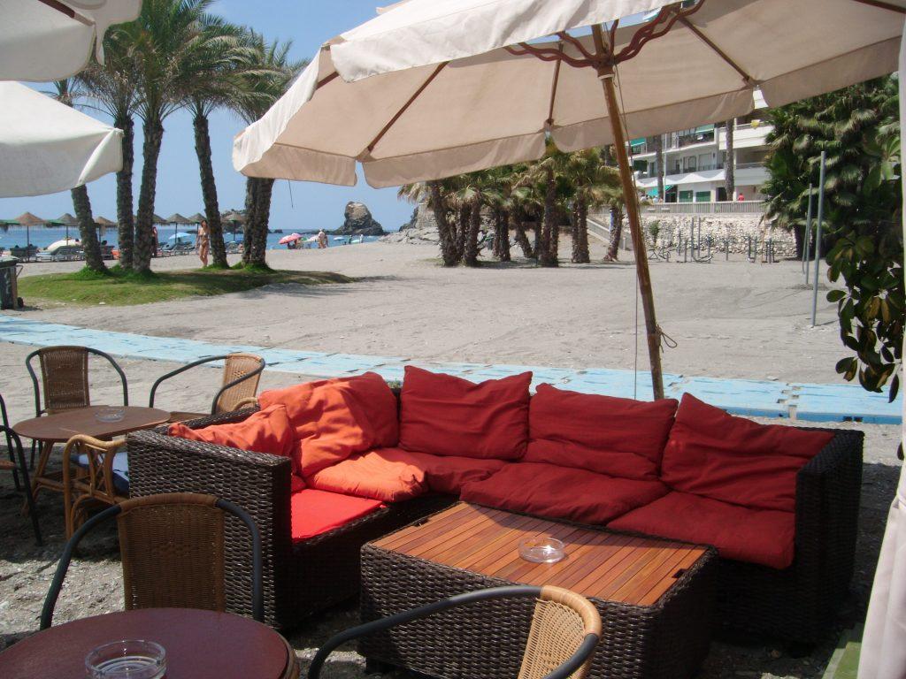 On the beach. Chiringuitos Almunecar. Villa Colina Tropical